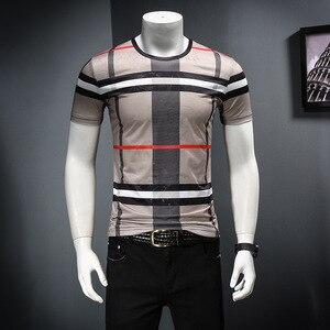Image 4 - 2019 남자 셔츠 여름 짧은 소매 패션 라운드 칼라 t 셔츠 인쇄 통기성 남자 t 셔츠
