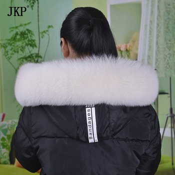 JKP Real Fox Fur Collar for Hood New Winter Warm Natural Fox Fur Big Scarf Coat Accessory Fashion Luxury Shawl and Wraps image