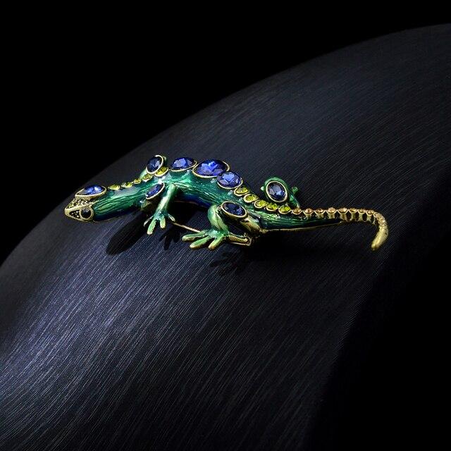 CINDY XIANG-broches de cristal de lagarto para mujer y hombre, alfileres de animales brillantes, broche de diamantes de imitación, accesorios de joyería para niños 4