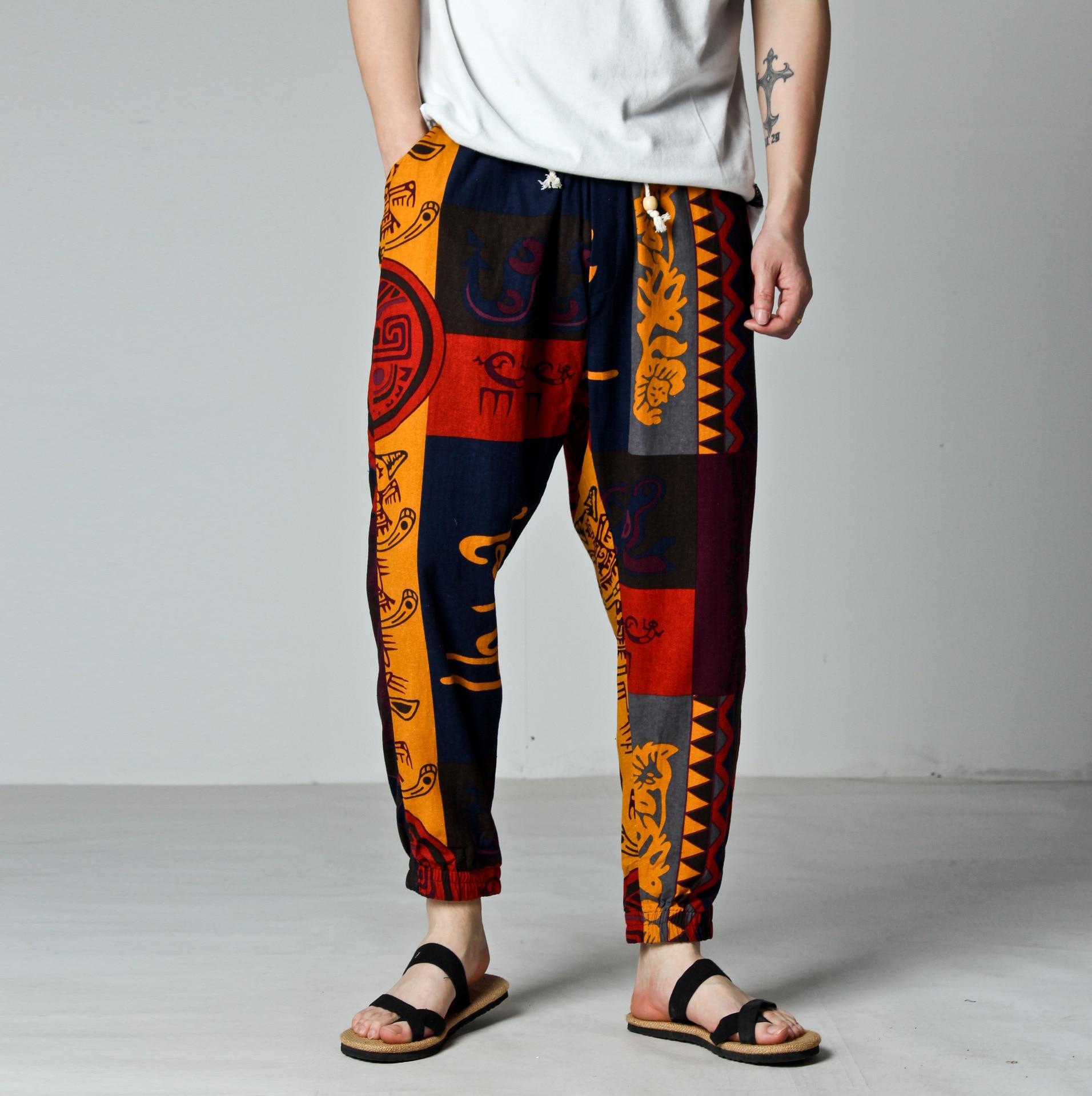 Export Southeast Asia Chinese-style Flax Casual 9 Pants Men Loose Harem Pants Large Size Capri Pants Men's