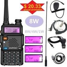 8w baofeng UV 5R walkie talkie ham transmissor de rádio vhf uhf varredor uv5r portátil cb estação de rádio uv 5r para a caça 10km