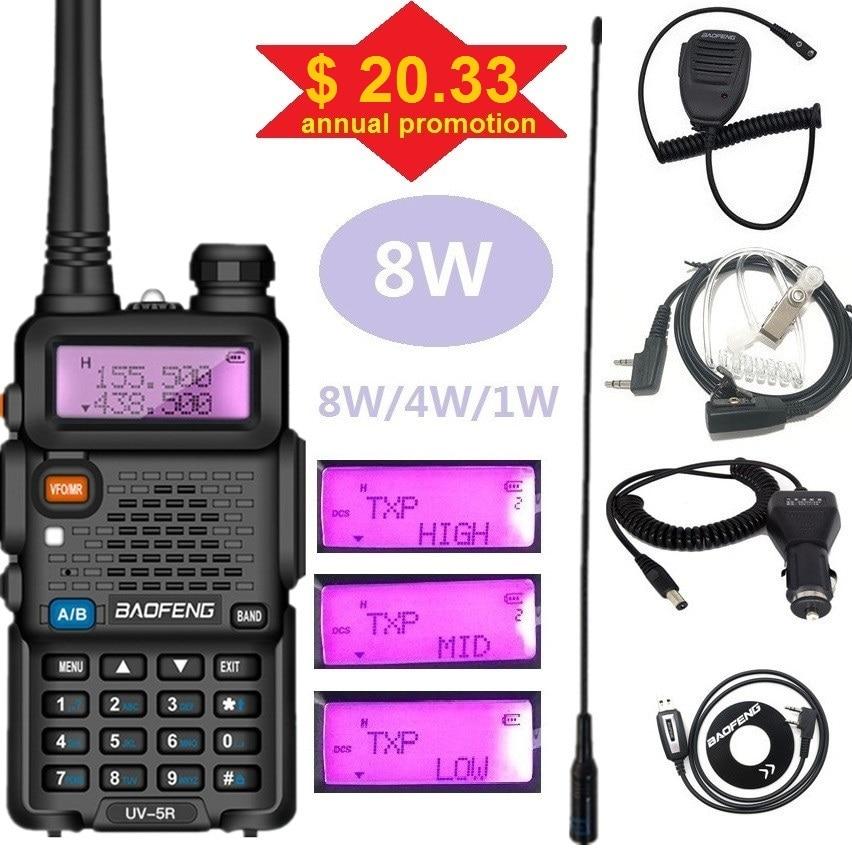 BAOFENG UV-5R 8W Dual Band Walkie Talkie 10KM Handheld CB Radio Scanning UV5R Transmitter 8Watts Ham Portable Radio Station