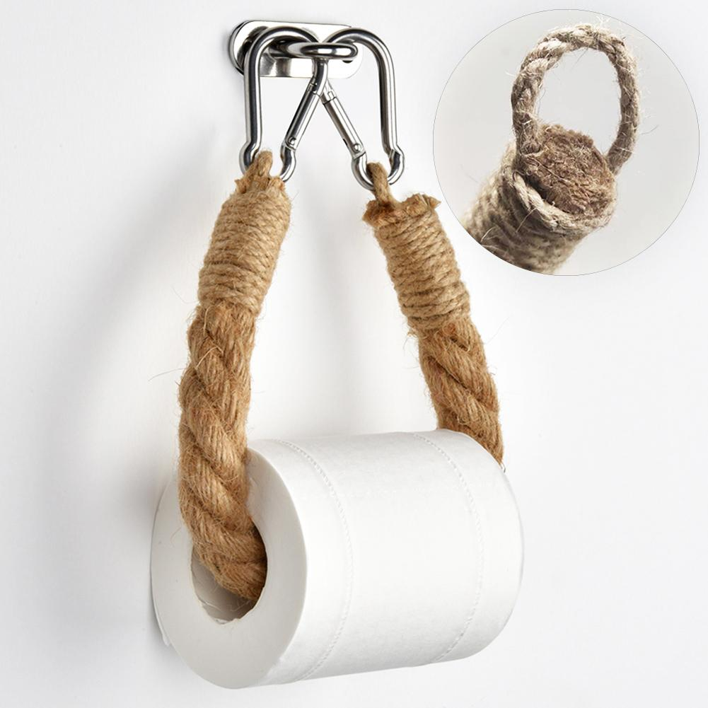 40/50/60/70cm Wall Mount Toilet Paper Holder Towel Rack Bathroom Vintage Style Woven Hanging Rope Toilet Paper Roll Holder Decor