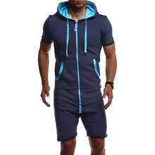 2020 sommer Männer Kurze Overall Short Sleeve Zipper Mit Kapuze Solide Herren Trainingsanzug Sets Einteilige Overalls Sets Fashion Sportwear(China)