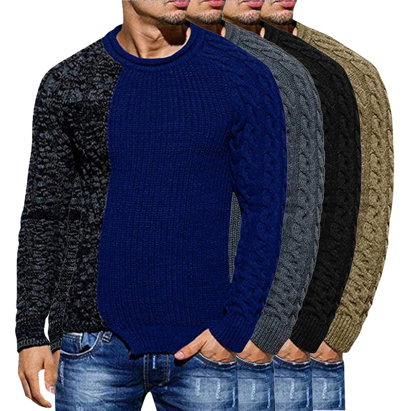 Oeak  2019 Men Patchwork Sweater Autumn Streetwear Casual Men Long Sleeve O Neck Pullovers Knitted Solid Slim Sweaters Winter