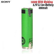 Sony 14500 3.7v aa 680mah, baterias de íon de lítio com soldagem para escova de dentes elétrica, cortador de cabelo, células recarregáveis