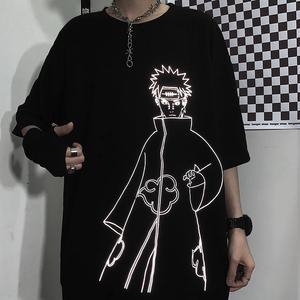 Футболка с Наруто уличная мужская летняя Амин хлопок Harajuku футболка повседневных топов с рисунками забавных Япония Светоотражающая футболка в уличном стиле