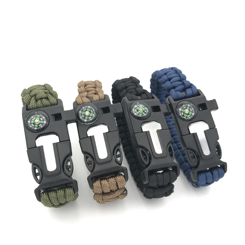 Outdoor Paracord Bracelet Survival Men Adventurer Paracord Watch Strap Tactical Outdoor Tools Compass Scraper Whistle 4 Function