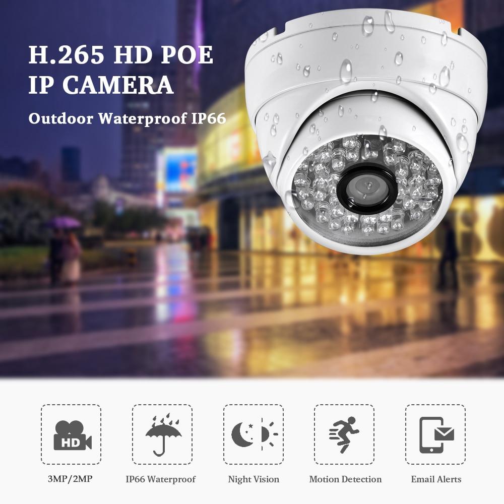 AZISHN Full HD 3MP SONY IMX307 Sensor 1080P POE Security Dome IP Camera ONVIF H.265AI Outdoor Waterproof Metal Surveillance Cam