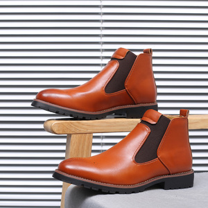 Image 4 - Misalwa Autumn Winter 2020 Men Chelsea Boots Black Red Yellow Microfiber Leather Brogue Boots Bullock Men Casual Shoes Big Size