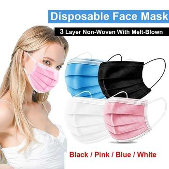 10-200pcs Black/White/Pink Disposable Mask Nonwove 3 Layer Mouth Mask Earloop Face Mask Filter Dust Protective Masks Mascarilla