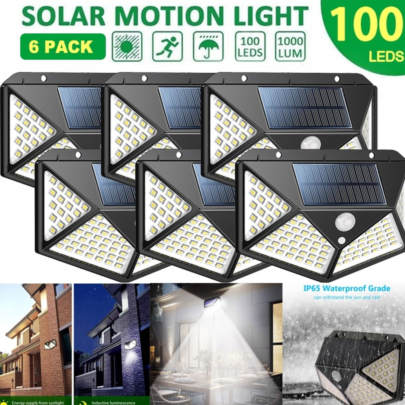Luces solares al aire libre 100 Led brillante Sensor de movimiento luz gran angular inalámbrico impermeable IP65 luces de pared para jardín Wall Street