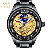 トップブランドの高級 kinyued 男性腕時計自動自己風機械式時計の男ステンレス鋼トゥールビヨンムーンフェイズ montre オム -