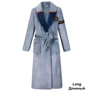 Image 3 - Green Women Men Coral Kimono Bathrobe Gown Lovers Couple Flannel Nightwear Winter Ultra Thick Warm Robe Sleepwear