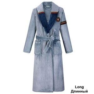 Image 3 - Yeşil kadın erkek mercan Kimono bornoz kıyafeti severler çift flanel kıyafeti kış Ultra kalın sıcak elbise pijama