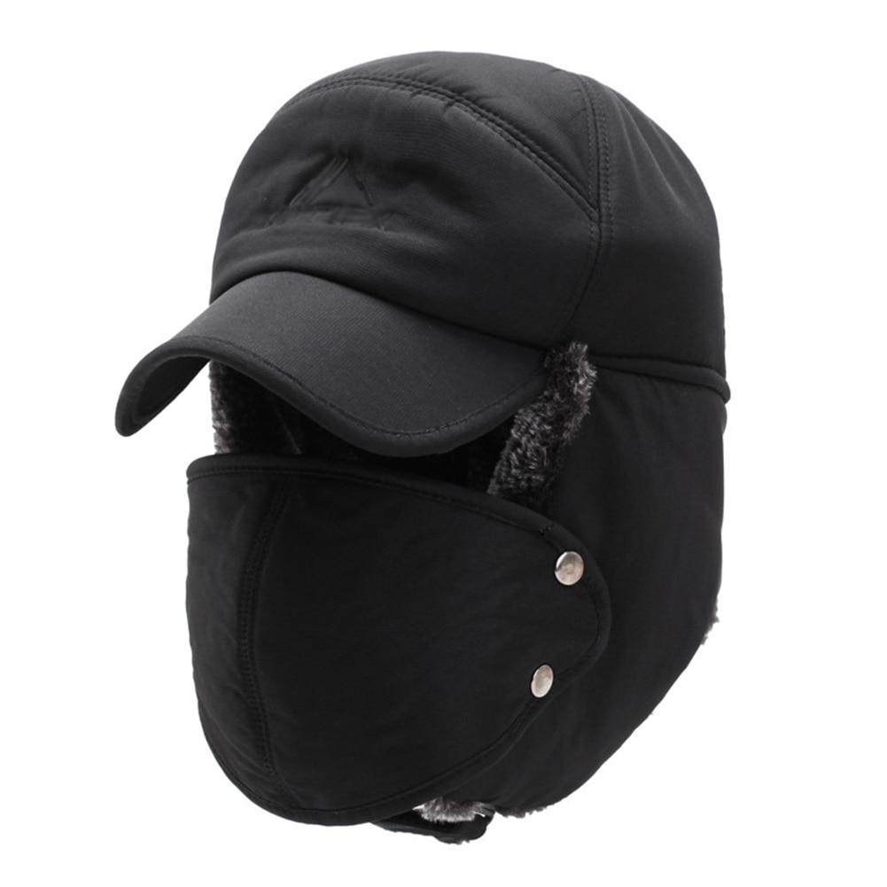 Men Trapper Winter Hat Earflap Face Mask Aviator Bomber Cap Balaclava Ski Hat