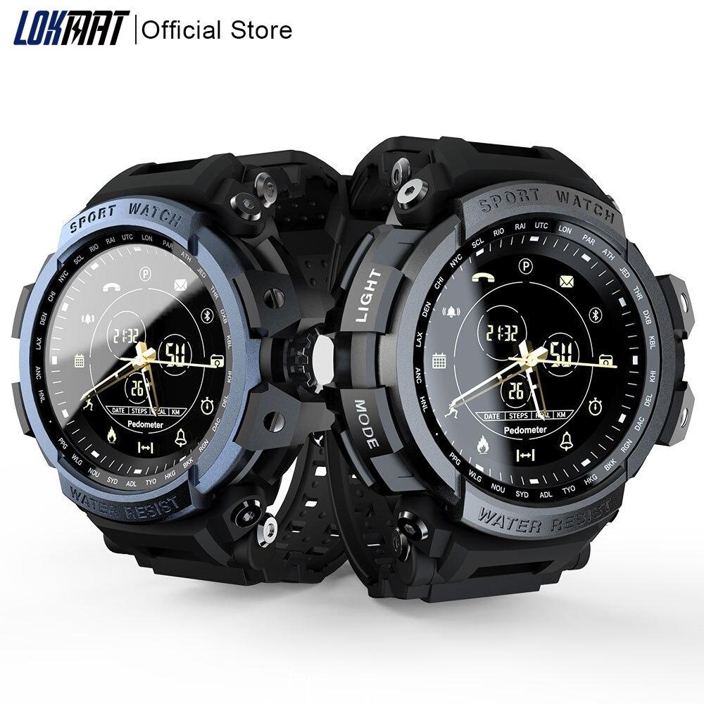 LOKMAT Spor akıllı saat Profesyonel 5ATM Su Geçirmez Bluetooth Çağrı Hatırlatma Dijital Erkekler Saat ios için akıllı saat ve Android