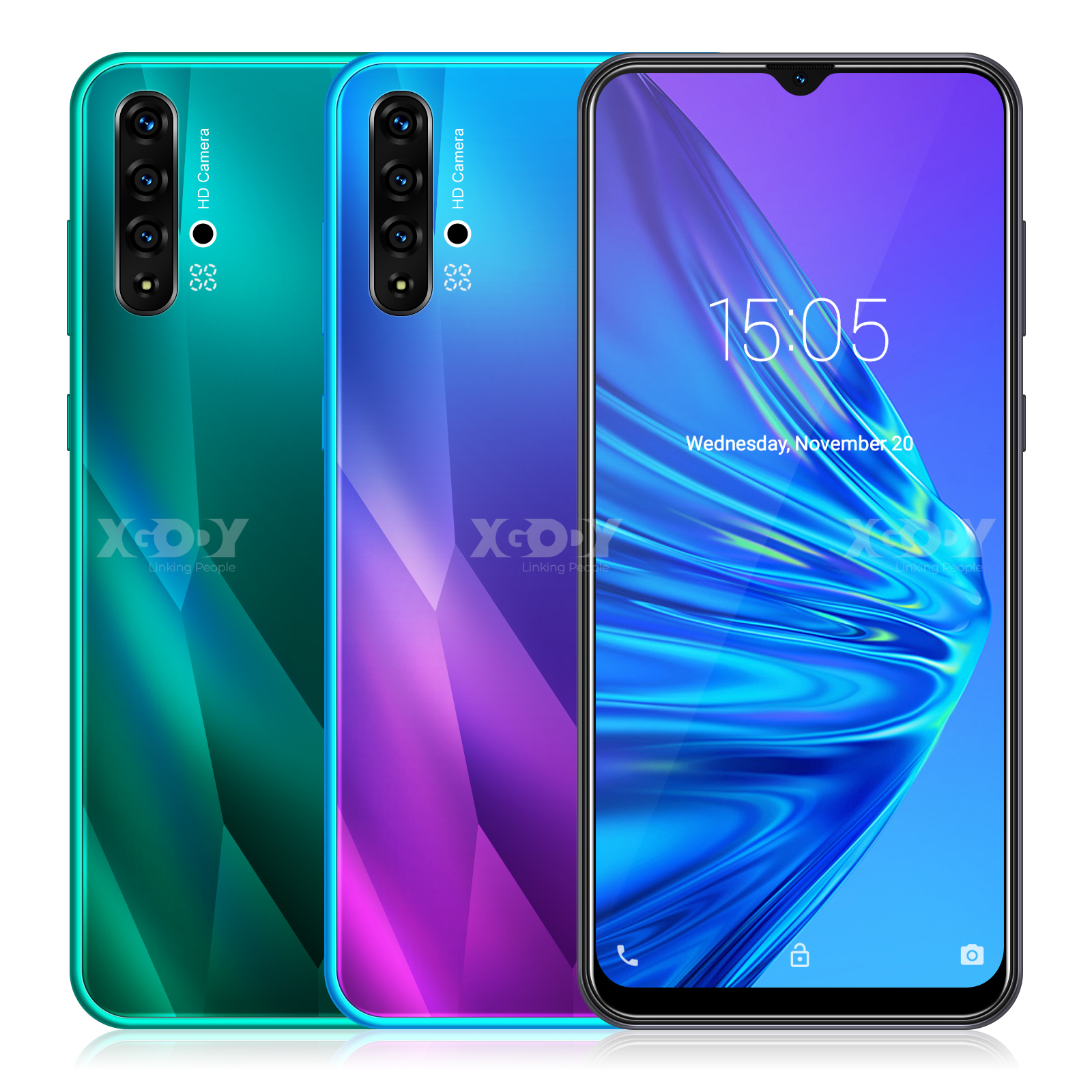XGODY 6.5inch 19:9 Big Screen 3G Smartphone Android 9.0 1GB 4GB <font><b>MTK6580</b></font> <font><b>Quad</b></font> <font><b>Core</b></font> 5MP Camera 3000mAh WIFI GPS Mobile Phone image