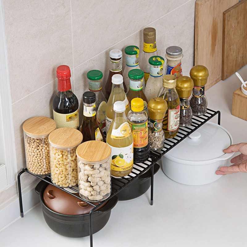 Vendita Calda Espandibile Mensola Dell'armadio Regolabile Controsoffitto Della Cucina Organizer Storage Rack per Il Piatto Pentolame E Utensili per Cucinare Cibo in Scatola Tazze Tazze