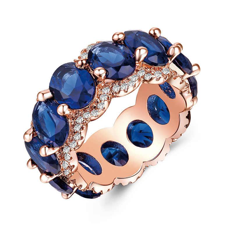 ร้อนชุบ Rose Gold แหวน Zircon แหวนหมั้นสุภาพสตรีเครื่องประดับขายส่ง
