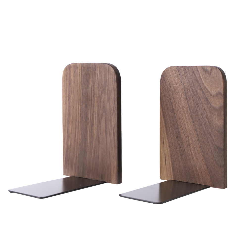 2PCS Desktop Black Walnut Organizer Work Storage Supplies Wooden Bookend Holder For Students Non Skid Home Office Book Stand