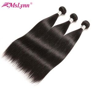 Image 4 - Pacotes de cabelo em linha reta com fecho de cabelo brasileiro tecer pacotes com fecho de cabelo humano pacotes com fecho mslynn remy cabelo