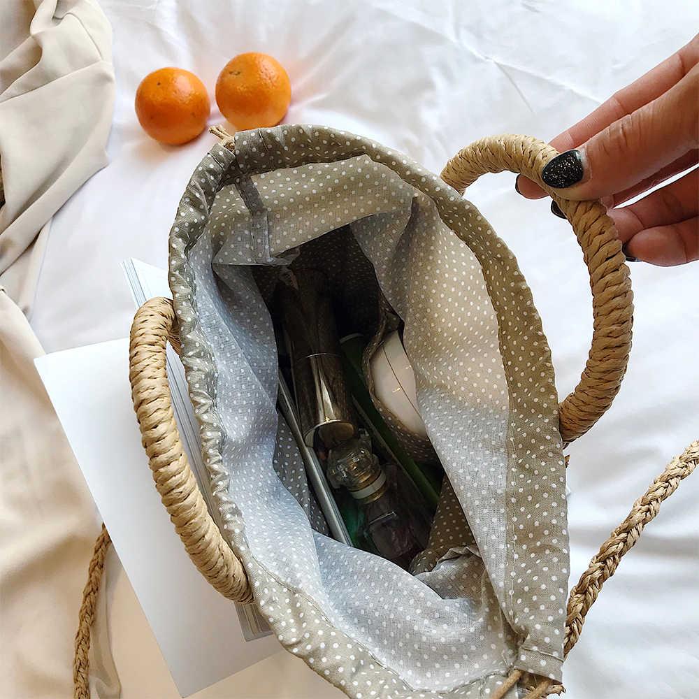 Jerami Musim Panas Pantai Tas Handmade Bulat Wanita Tas Bahu Tas Rafia Lingkaran Rotan Tas Bohemian Casual Keranjang Anyaman Tas Tangan 2020