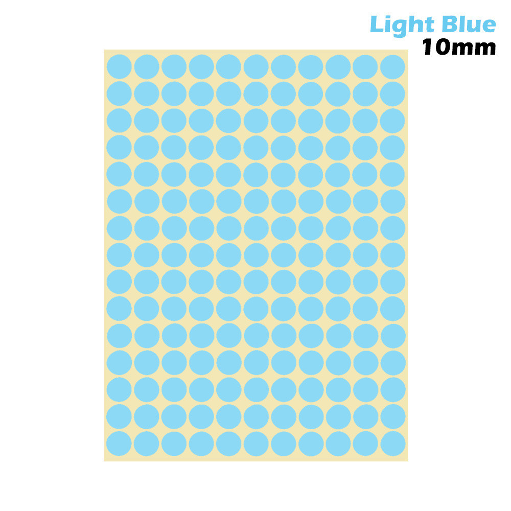 1 лист 10 мм/19 мм цветные наклейки в горошек круглые круги точки бумажные клеящиеся этикетки офисные школьные принадлежности - Цвет: light blue 10mm