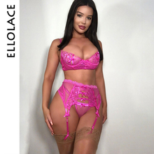 Ellolace Sexy Lace Underwear Sets Women Pink Push Up Lingerie Bra & Brief Bralette and Panties 2019 Fashion New