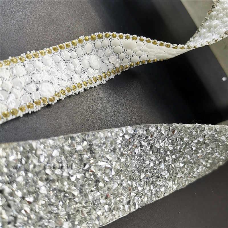 40cm לבן פנינת חרוזים תחרה קלטת תחרה סרט תיקון חם תחרה בד צווארון שמלת ברזל על בגד כיסוי ראש נעליים DIY חומרים