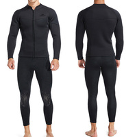 3mm Men Split Type Wetsuit 2 piece Warm Surf Swimming Zipper Long Sleeve Top Trousers Snorkeling Diving Suit Full Bodysuit Soft