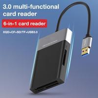 6 In 1 Multi Memory Card Reader ABS Lega di Alluminio Borsette Filo PVC Reader USB 3.0 2 Port HUB Ad Alta velocità Adattatore Per XQD CF di DEVIAZIONE STANDARD TF