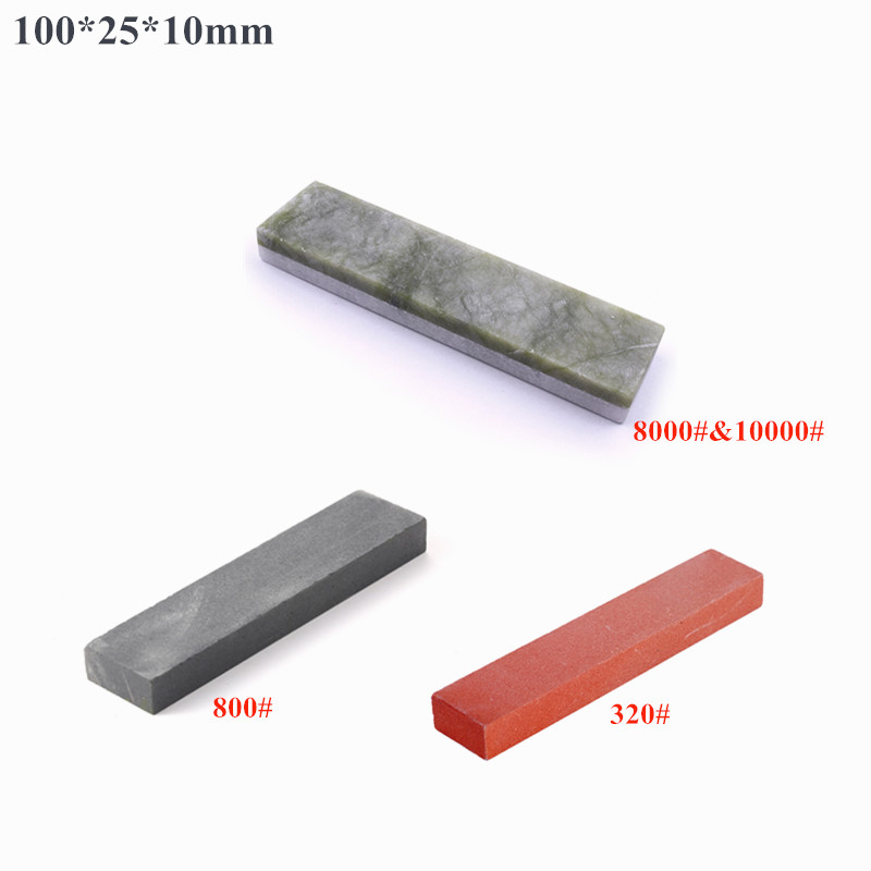 3Pcs 800/320/8000&10000# Grit Double-sided Natural White Agate&Natural Emerald Ruby Sharpening Oil Stone Boron Carbide Whetstone