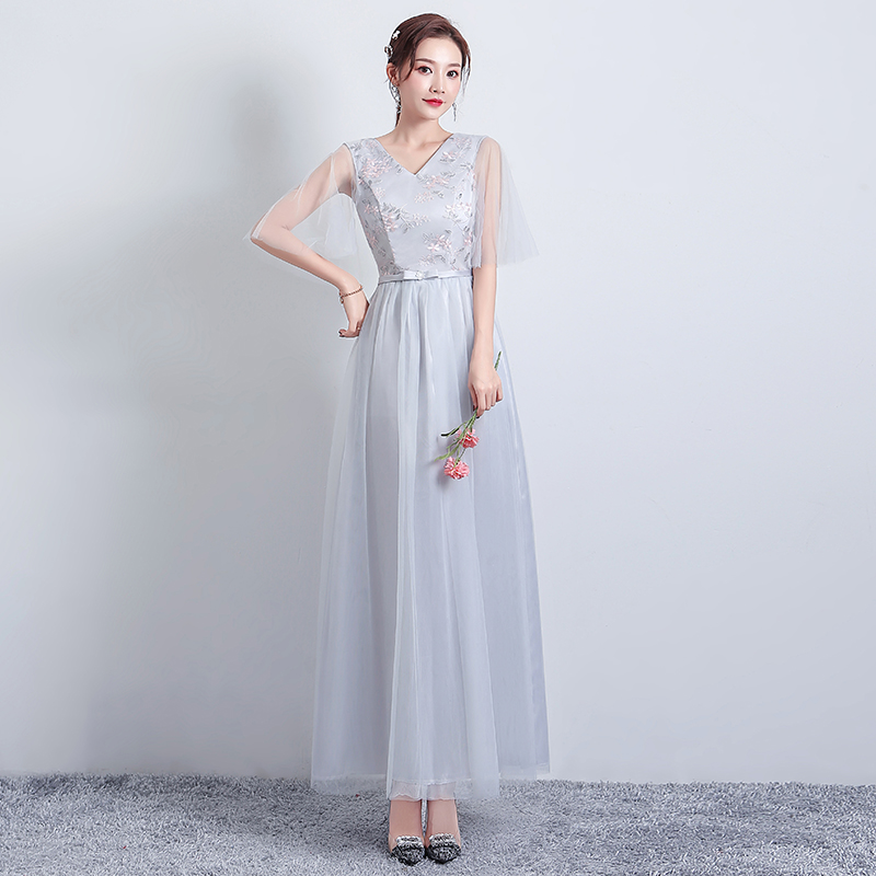 A-Line V-neck Long Dress For Wedding Party For Woman Gray Bridesmaid Dress Elegant Sister Wedding Guest Dress Sexy Prom Vestido