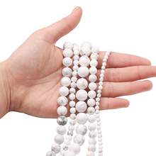 1strand Natural Gem Stone White Howlite Turquoises Loose Round Beads 4 6 8 10 12MMSpacer Beads Diy Bracelet Necklace Accessories
