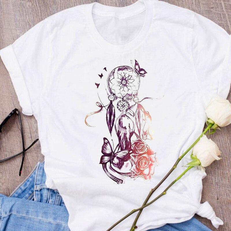 Women Graphic Fox Animal Cartoon Printing 90s Cute Short Sleeve 90s Print Clothes Lady Tees Tops Female T Shirt  Womens T-Shirt 11