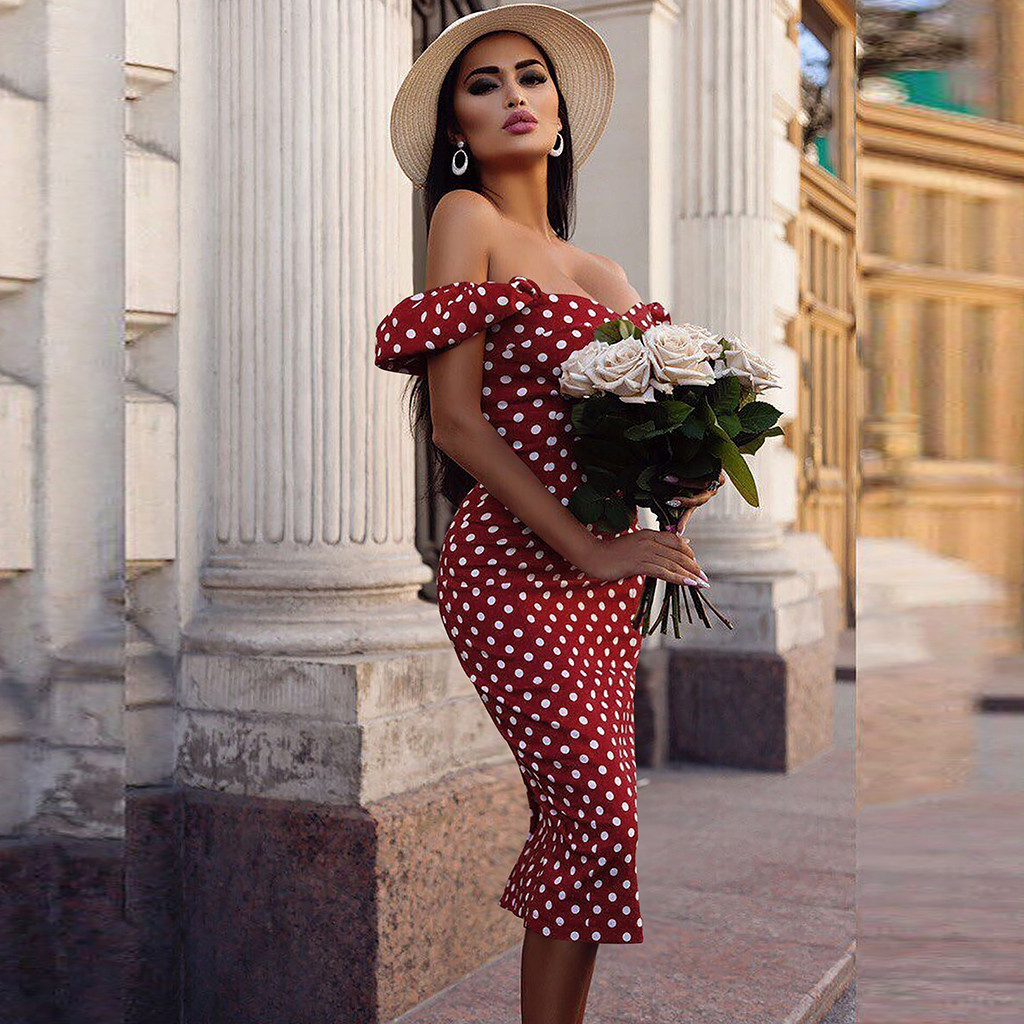 Women Fashion Polka Dot Printed Dress Sexy Bodycon Dresses Summer Short Sleeve Vintage Off Shoulder Sundress #O