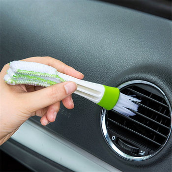1339 clean brush of air outlet of automobile air conditioner Dust brush Superfine fiber soft brush double head interior cleaning image
