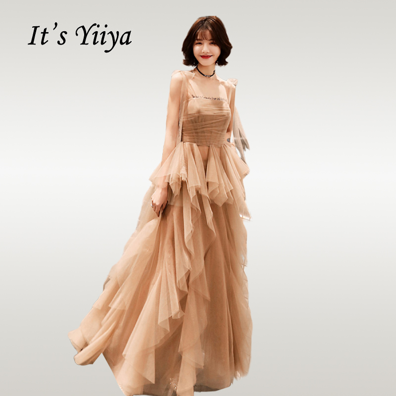 It's Yiiya   Evening     Dress   Elegant Boat Neck Long Vestidos De Fiesta Plus Size Irregular Hems Pleat Sling Formal Gowns E679