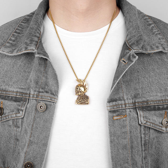 STAINLESS STEEL GOTHIC RULES SKULL NECKLACE