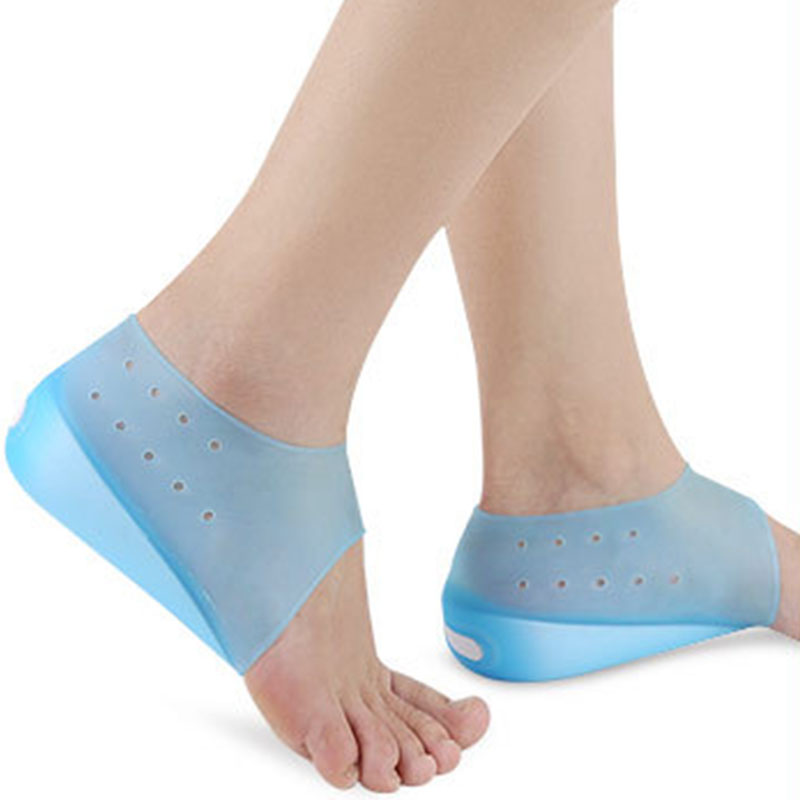 Hot Unisex Invisible Height Increase Socks Heel Pads Silicone Insoles Foot Massage Foot Care Protector Orthopedic Arch Supports