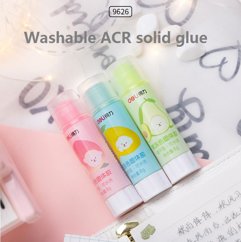 2Pcs ACR Washable Glue Stick Jelly Transparent Colors 8g High Viscosity Solid Glue For Kids Students School Stationery Deli 9626