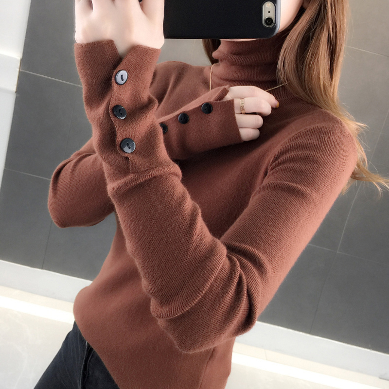 Button Long Sleeve Pile Heap Turtleneck Women Sweater Slim Knitted High Elastic 2019 Fall Winter Fashion Sweater Women Pullovers