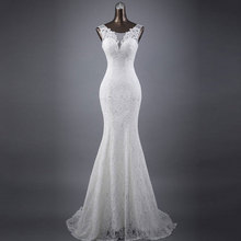 Tanpell Mermaid Wedding Dresses 2019 V-Neck Sleeveless Lace-up lace Floor Length Gown Bride Dress