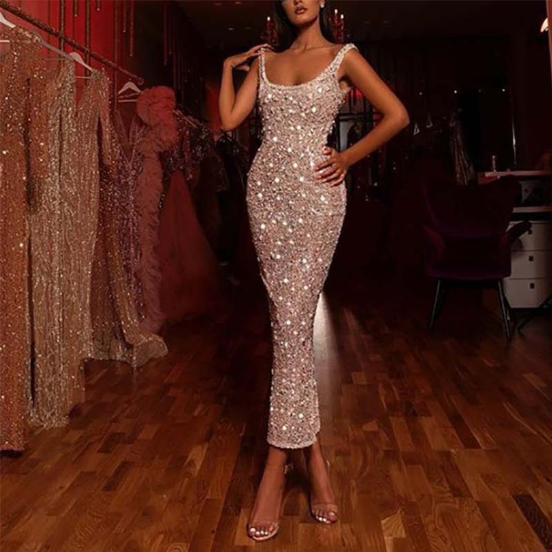 BacklakeGirls 2020 Sexy O Neck Sleeveless Split Glitter Evening Dress Female Elegant Party Clubwear Maxi Elegant Dress Avondjurk