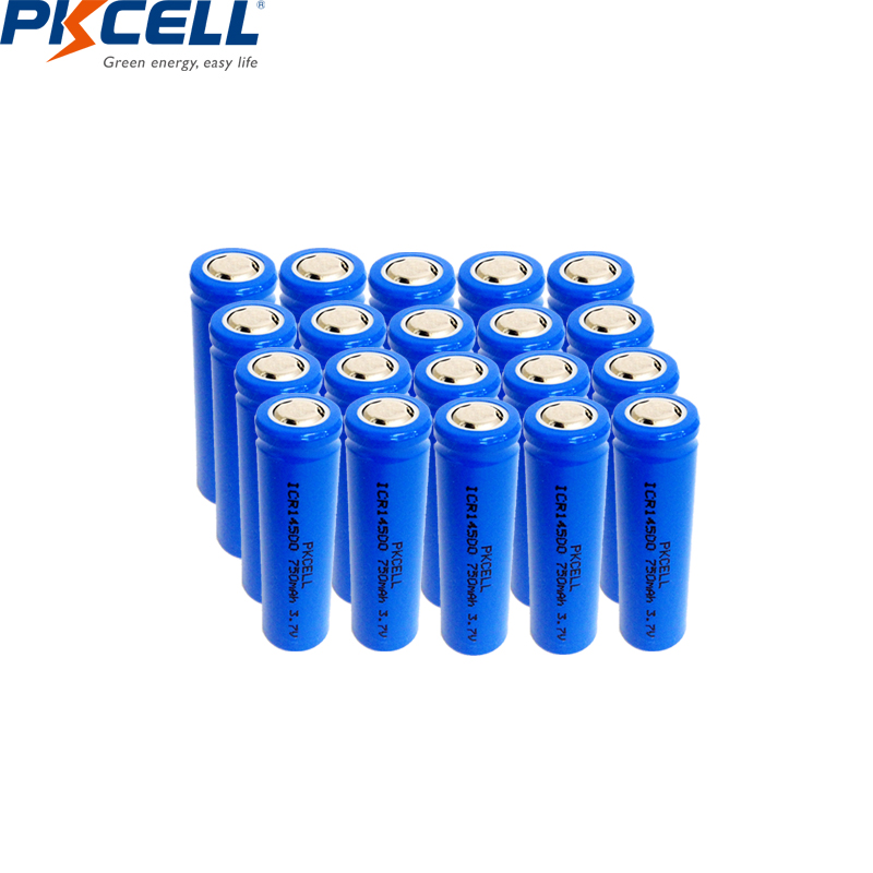 PKCELL <font><b>14500</b></font> 750mAh 3.7V <font><b>Li</b></font>-<font><b>ion</b></font> Rechargeable Batteries Lithium Cell AA Battery for Led Flashlight Headlamps Torch Mouse image