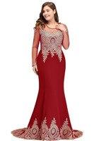 YULUOSHA 2019 Long Sleeve Applique Large Size Burgundy Evening Dress Mermaid Beads Arab Muslim Women Prom Evening Dress