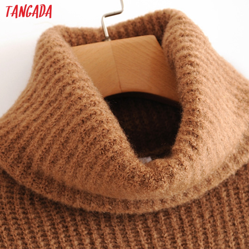 Tangada women jumpers turtleneck sweaters oversize winter fashion 19 long sweater coat batwing sleeve christmas sweate HY135 8