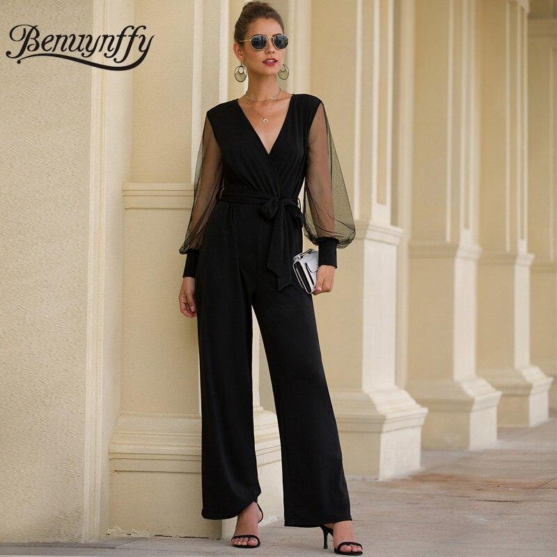 Benuynffy, Офисная Леди, элегантный сексуальный комбинезон с v-образным вырезом и поясом, длинный женский черный сетчатый лоскутный комбинезон с длинным рукавом, женский комбинезон с завышенной талией - Цвет: Черный