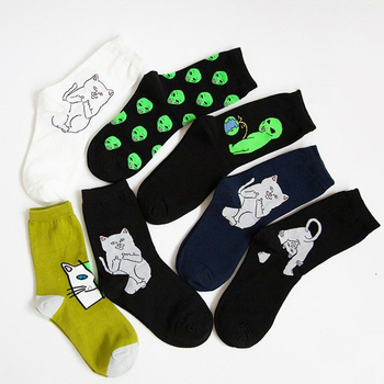 Fashion Street Art Funny Alien Planet Socks Personality Creative Cartoon Cat Breathable Men Happy Unisex Long
